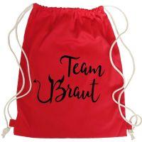 Roter JGA Turnbeutel-Rucksack mit Team Braut Teufel-Motiv