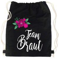 """Rucksack """"Team Braut"""" - Blumen - Schwarz"""