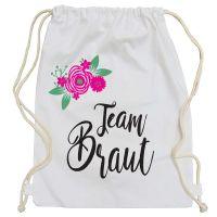 JGA Turnbeutel Team Braut - Weiss mit Blumen-Motiv
