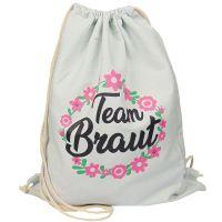"""Rucksack """"Team Braut"""" - Blumenkranz - Hellgrau"""