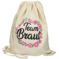 """Rucksack """"Team Braut"""" - Blumenkranz - Naturfarben"""