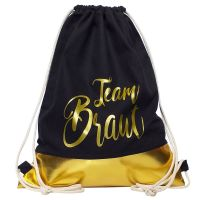 JGA-Turnbeutel Gold - Team Braut - mit goldfarbener Borte