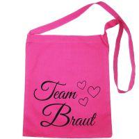 Pinkfarbene Umhängetasche mit Team Braut-Motiv