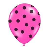 Pinkfarbene Luftballons mit schwarzen Punkten (6 Stück)