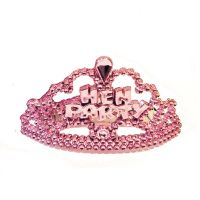 Pinkfarbene Mini-Tiara mit Steckkamm