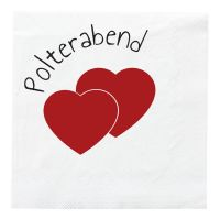 Weisse Polterabend Deko-Servietten im Herz-Design