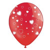 Rote Luftballons mit weißen Herzen (50 Stück)