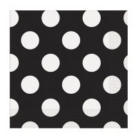 Schwarze Servietten mit weißen Punkten