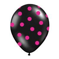 Schwarze Luftballons mit pinken Punkten (6 Stück)