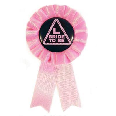Pink-schwarzer JGA-Anstecker mit Bride-to-be Motiv