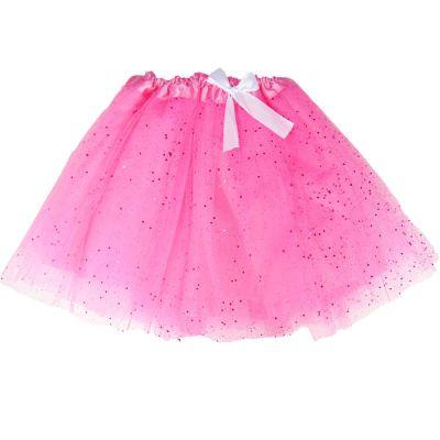 Damen Tüll Tütü-Rock - Pink mit Glitter