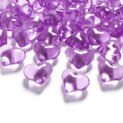 Lilafarbene Deko-Herzen aus Acryl