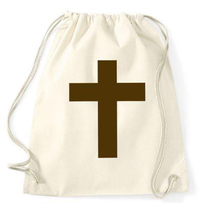 Rucksack mit braunem Kreuz als Mönchkostüm-Accessoire