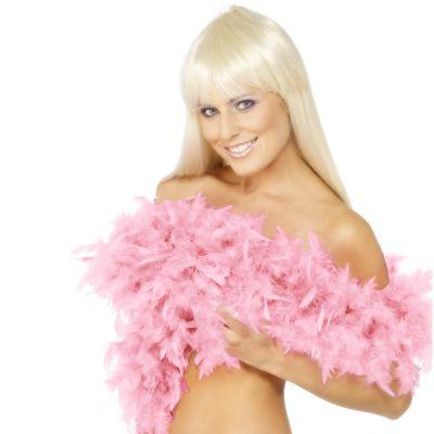 Rosafarbene Federboa mit Model