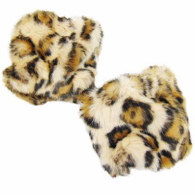 Pulswärmer im Leoparden-Design - Armstulpen aus Kunst-Fell