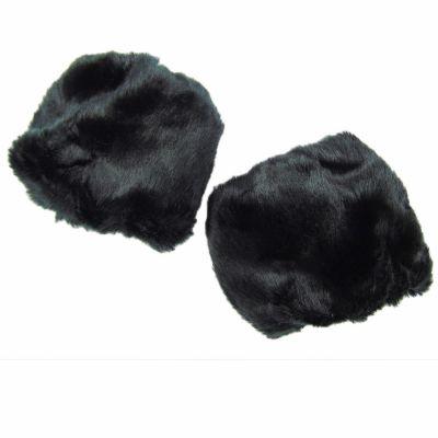Schwarze Pulswärmer - Armstulpen aus Kunst-Fell
