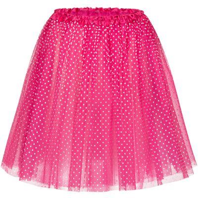 Pinkfarbener Tütü-Rock mit weissen Punkten