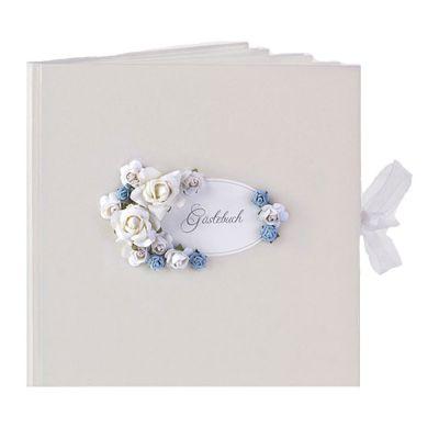 Weißes Hochzeits-Gästebuch mit Blumendekoration