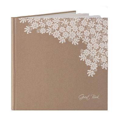 Hochzeits-Gästebuch im Vintage-Stil mit Blumen