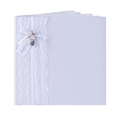 Weißes Hochzeits-Gästebuch mit Verzierung aus Spitze