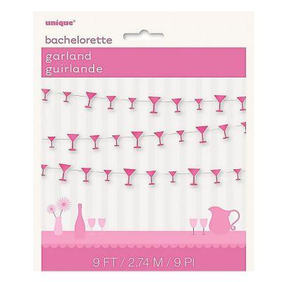 Pinkfarbene Papiergirlande mit Martinigläsern
