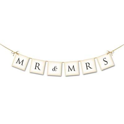 Hochzeitsgirlande aus Pappe mit Aufschrift Mr & Mrs