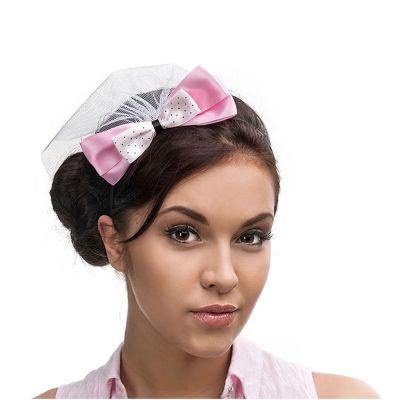 Haarreifen mit rosafarbener Schleifer und Schleier