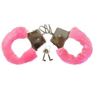 Rosafarbene Plüsch-Handschellen