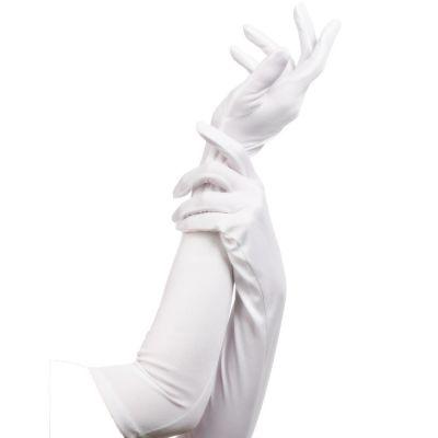 Lange weiße Handschuhe