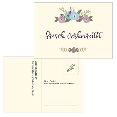 Hochzeit - Ballonflugkarten im Blumen Pastell-Design