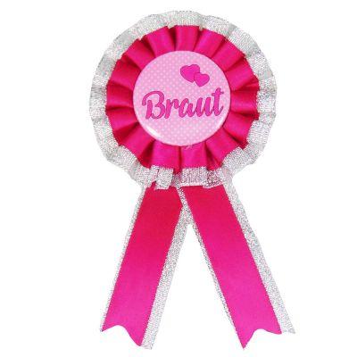 Pinkfarbener JGA Ansteck-Orden mit Braut-Motiv