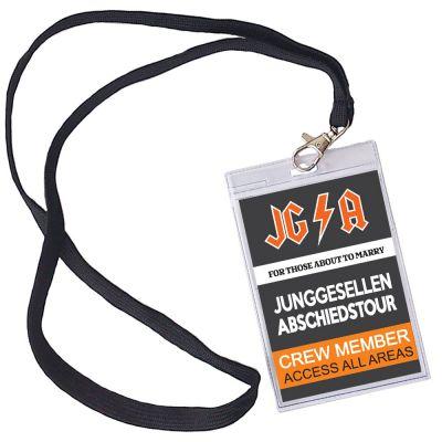 Männer JGA-Ausweis mit Abschiedstour-Motiv im Hard Rock Backstage Stil