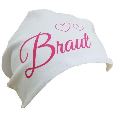 Weiße Braut-Mütze mit Herzen für den Junggesellinnenabschied