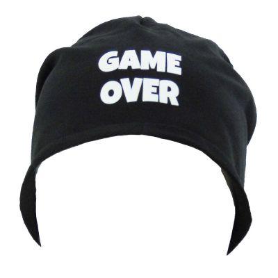 Schwarze Junggesellenabschied-Mütze mit Game Over-Motiv