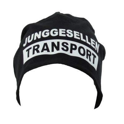 Schwarze Beanie-Mütze mit Junggesellen Transport-Logo