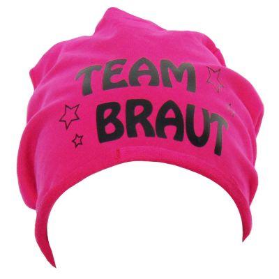 Pinkfarbene Beanie mit Team Braut-Schriftzug und Sternen