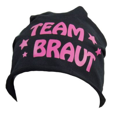 Schwarze Beanie-Mütze mit Team Braut-Schriftzug und Sternen