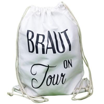 Weisser JGA Stoffbeutel mit Braut on Tour-Schriftzug