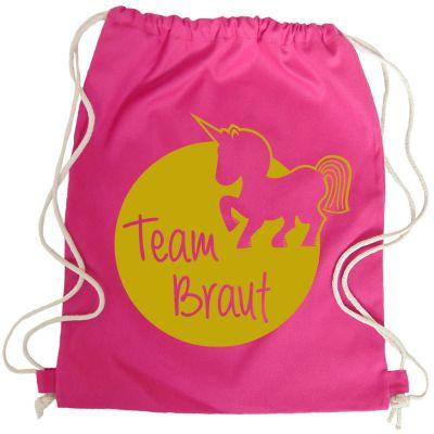 JGA Turnbeutel Team Braut mit Einhorn - Pink