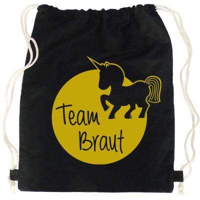 JGA Turnbeutel Team Braut mit Einhorn - Schwarz