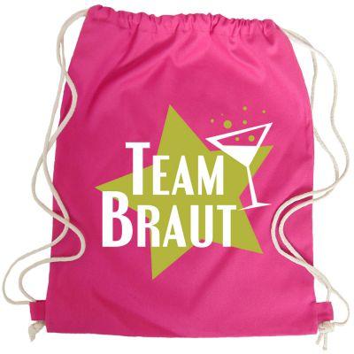 Pinkfarbener Team Braut-Beutel mit Star-Motiv als JGA-Tasche