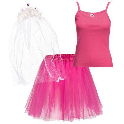 Pinkes JGA-Kostüm für den Bräutigam mit Tütü und Schleier