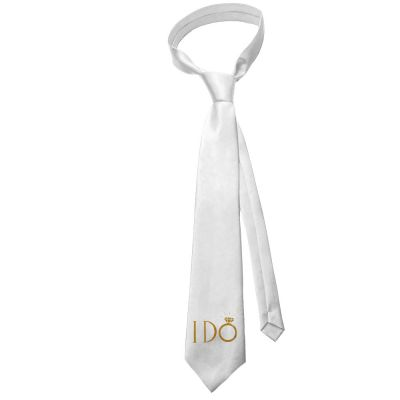 Weiße JGA-Krawatte mit goldfarbenem I Do-Aufdruck