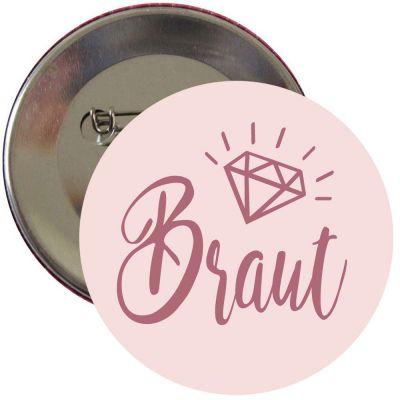 JGA Button mit Braut-Schriftzug in Rosé-Gold