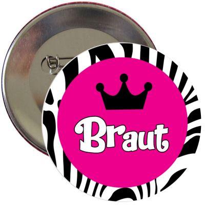 JGA-Button im Zebra-Design mit Braut-Schriftzug
