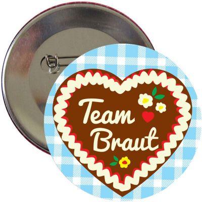 JGA Button mit Team Braut Schriftzug und Lebkuchenherz