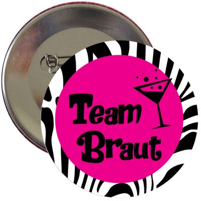 Team Braut-Button im Zebra-Design für den Junggesellinnenabschied