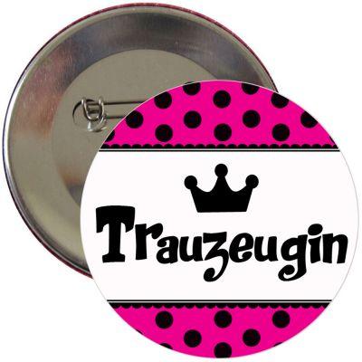 JGA-Button Trauzeugin - Pink mit Polka Dots
