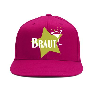 Pinkfarbene Braut-Kappe mit goldfarbenem Stern-Motiv
