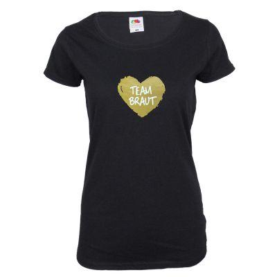 Schwarzes JGA-Damenshirt mit goldfarbenem Team Braut-Herz